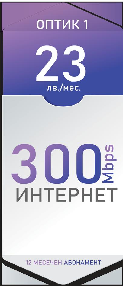 Оптичен интернет 300 Mbps за 23лв./мес. - Дупница, Кюстендил, Гоце Делчев