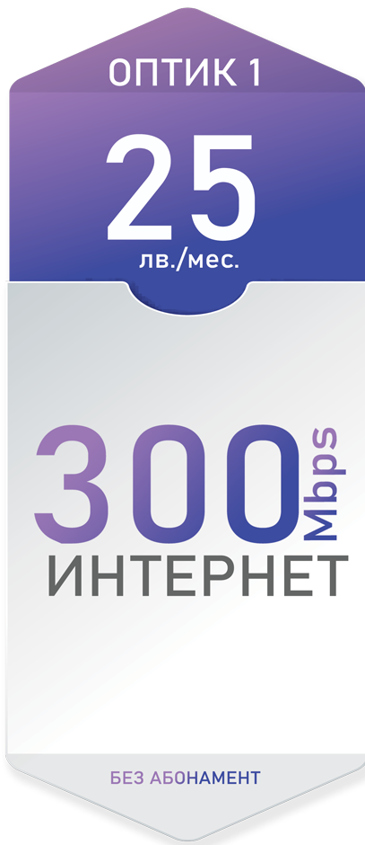 Оптичен интернет 300 Mbps за 25лв./мес. - Дупница, Кюстендил, Гоце Делчев